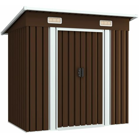 Caseta de almacenamiento jardín acero marrón 194x121x181 cm – Marrón