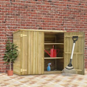 Rogal caseta herramientas jardín madera pino impregnada 135x60x123 cm Rogal
