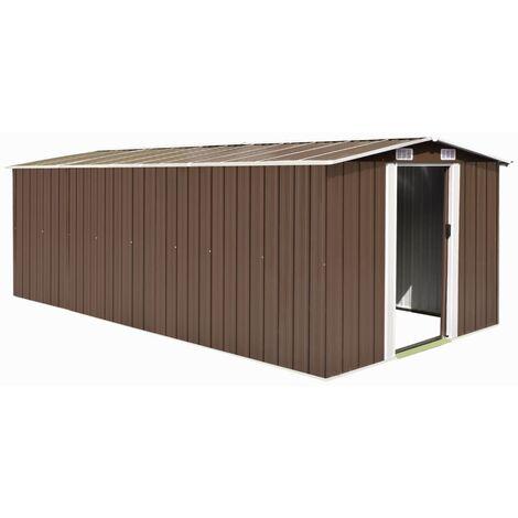 Rogal caseta de jardín de metal marrón 257x489x181 cm Rogal
