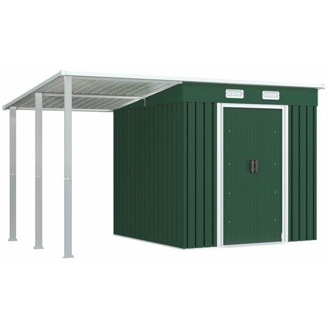 Rogal cobertizo jardín con tejado extendido acero verde 346x193x181 cm Rogal